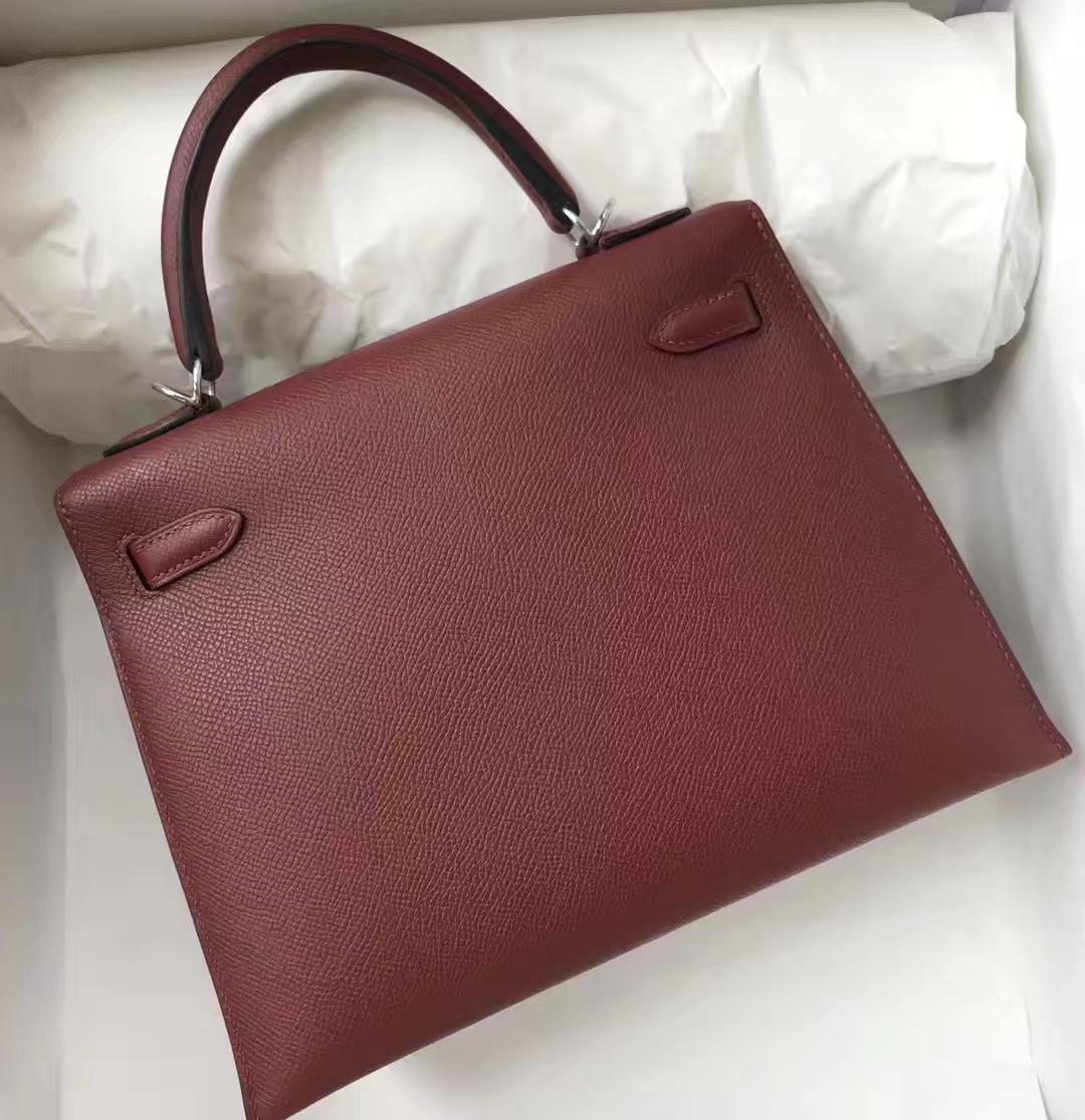 Sale Hermes Epsom Calf Kelly25CM Bag in CK55 Rouge H Silver Hardware