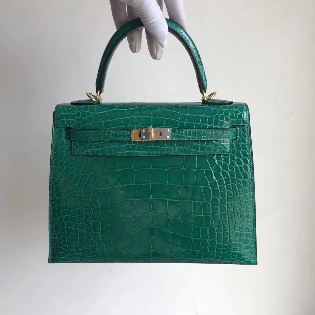 Discount Hermes Shiny Crocodile Kelly Bag25CM in 6Q Vert Emerald Gold Hardware