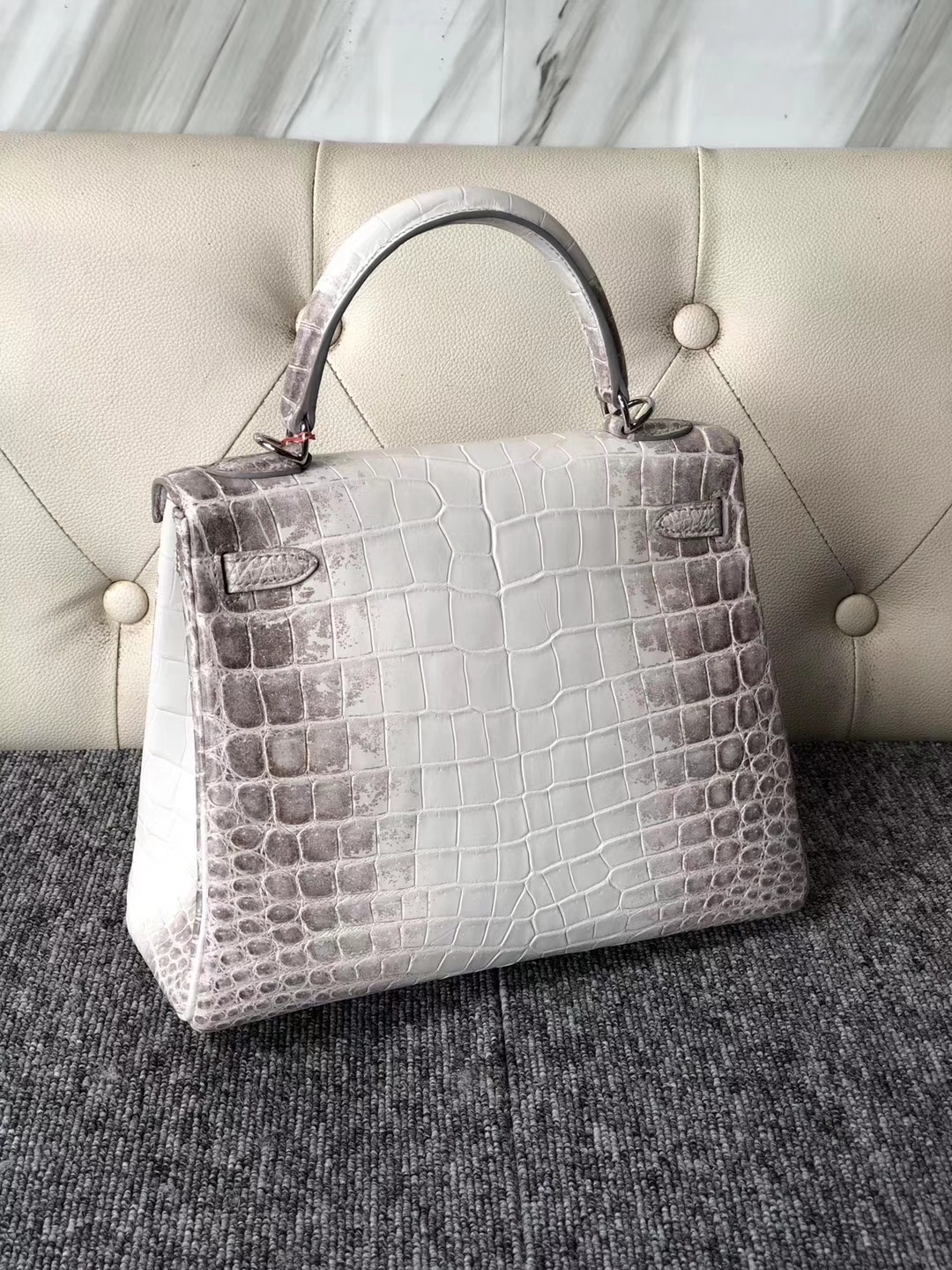 Noble Hermes Crocodile Leather Kelly25CM Tote Bag in Himalaya Silver Hardware