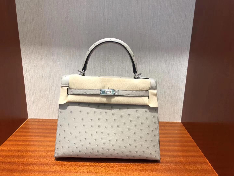Fashion Hermes KK Ostrich Kelly Bag25CM in Blue Glacier Silver Hardware