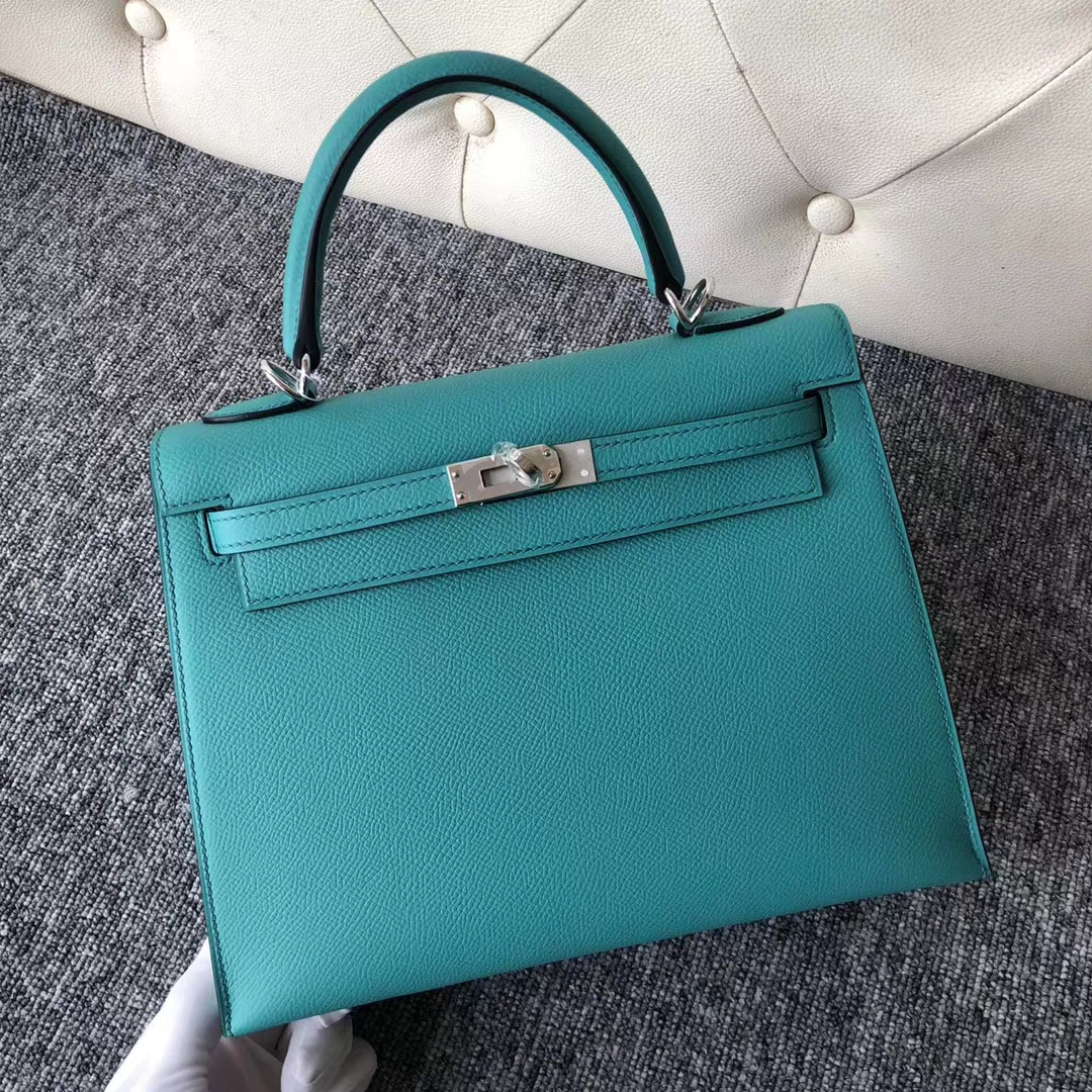 Sale Hermes 7F Blue Paon Epsom Calf Kelly25CM Tote Bag Silver Hardware