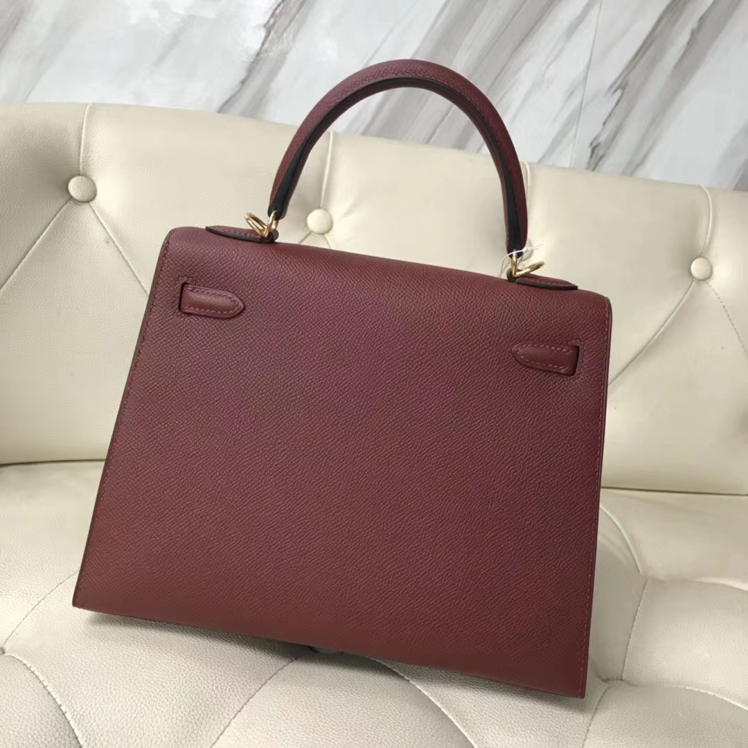 Stock Hermes CK55 Rouge H Epsom Calf Kelly Bag25cm Gold Hardware