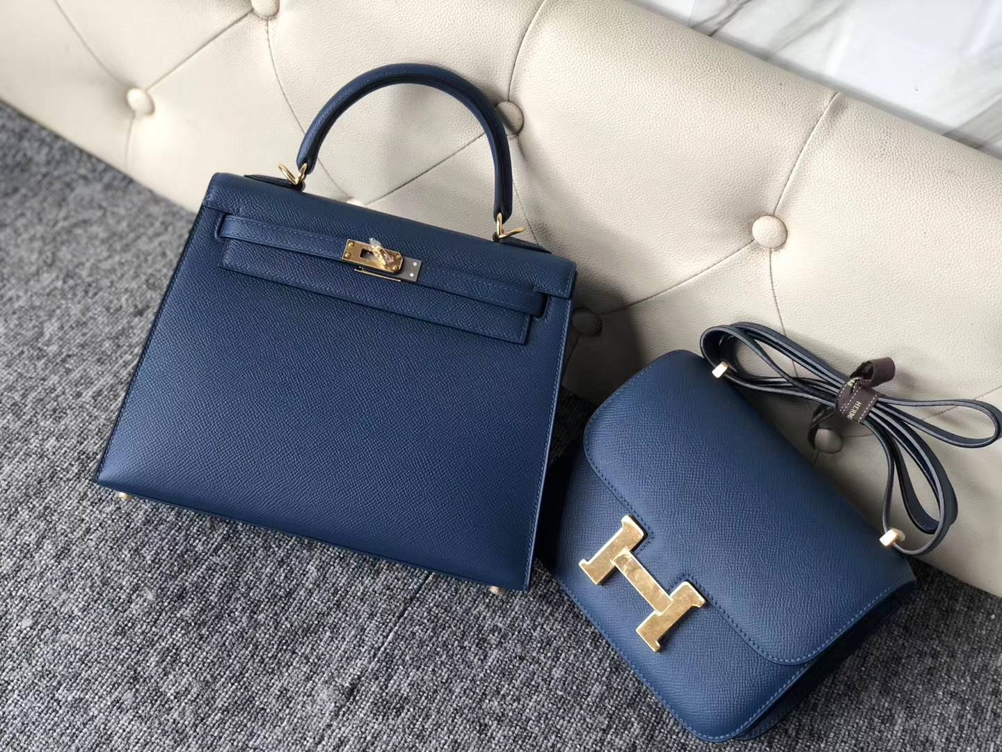 New Arrival Hermes Epsom Calf S4 Deep Blue Kelly Bag25cm Gold Hardware