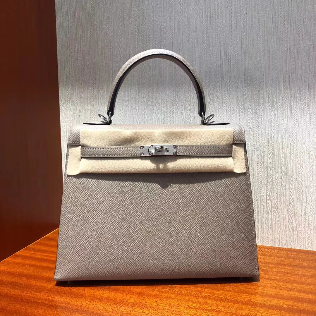 Wholesale Hermes M8 Gris Asphalte Epsom Calf Kelly25CM Bag Silver Hardware