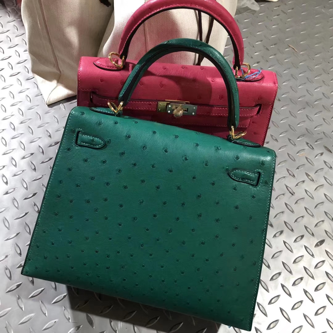 Stock Hermes U4 Vert Verigo KK Ostrich Kelly25CM Tote Bag Gold Hardware