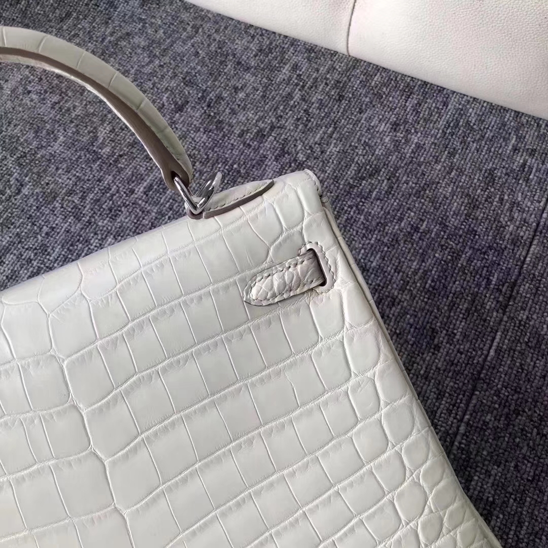 Stock Hermes Matt Crocodile Kelly Bag25cm in 8L Beton White Silver Hardware