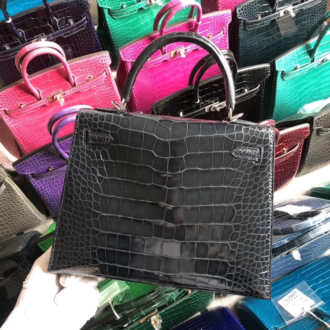 Stock Hermes 73 Dark Blue Shiny Crocodile Kelly25CM Bag Silver Hardware