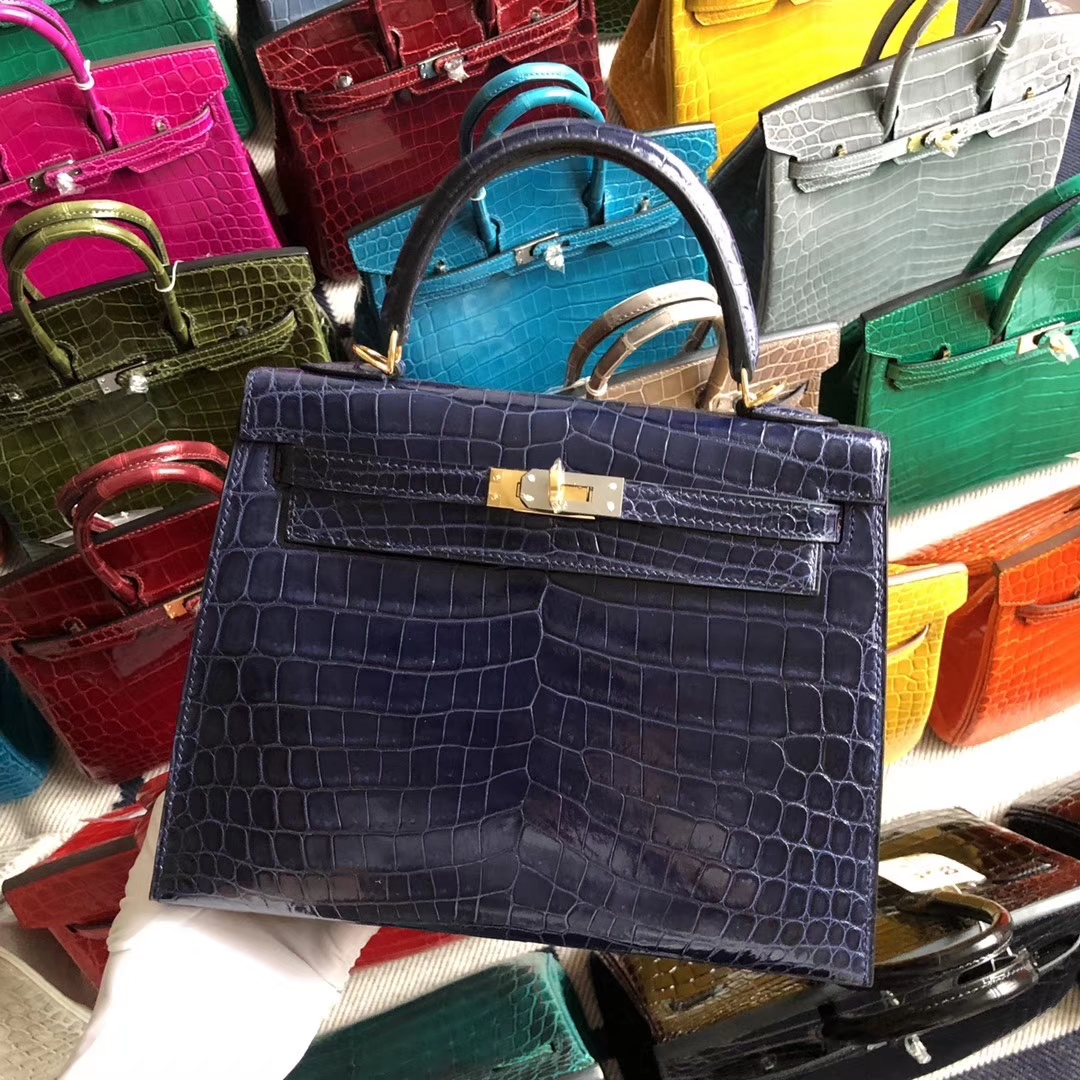 Stock Hermes M3 Blue Encre Shiny Crocodile Kelly25CM Bag Gold Hardware
