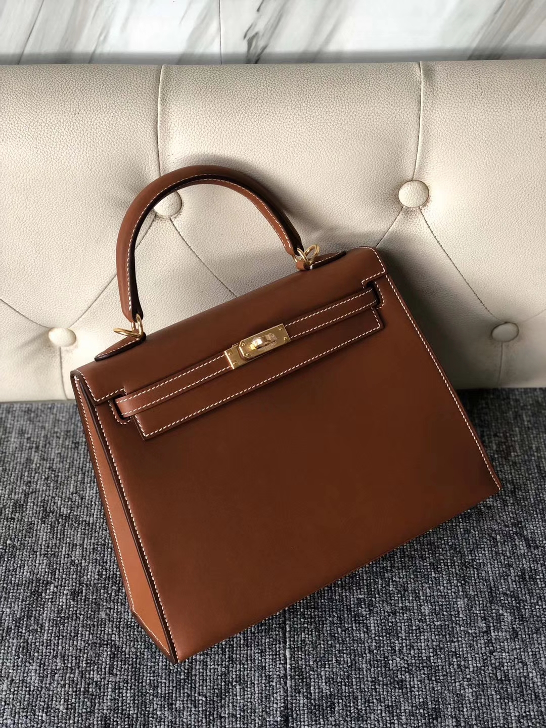 Customize Hermes Bareniz Natural Gold Sellier Kelly25CM Gold Hardware