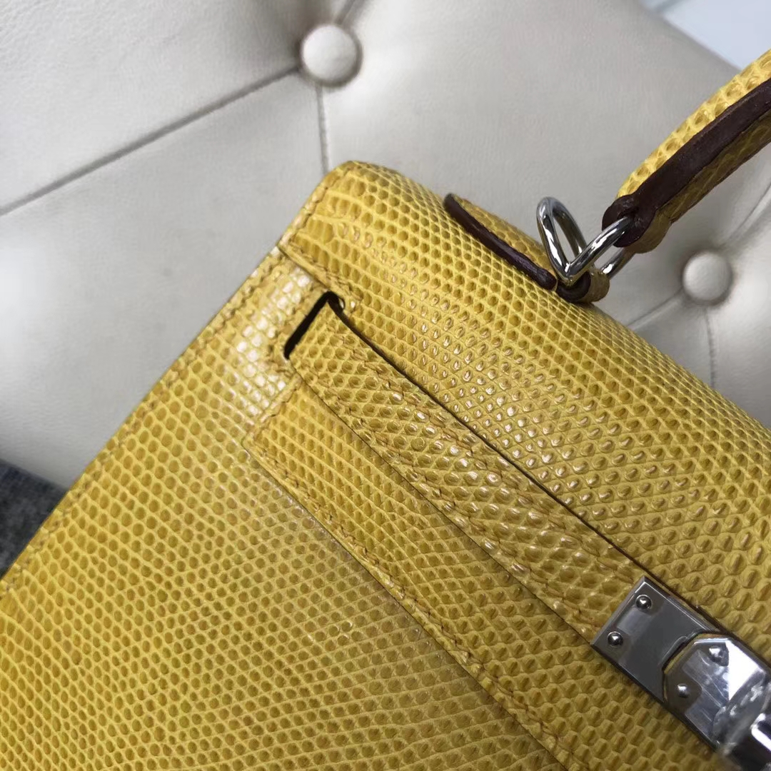Customize Hermes 9R Lemon Yellow Shiny Lizard Kelly Bag25CM Silver Hardware
