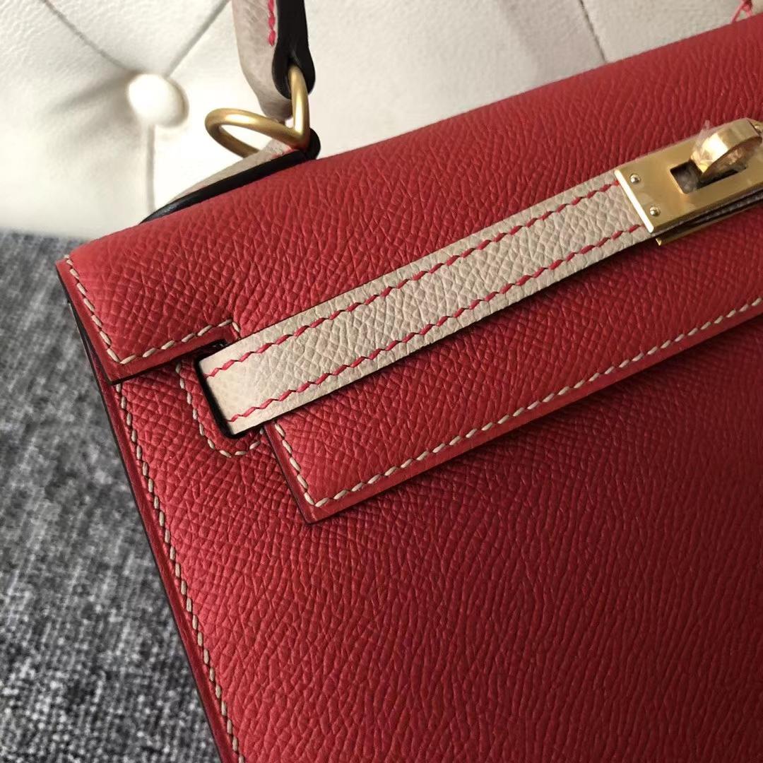 Customize Hermes Q5 Rouge Casaque/S2 Gris Trench Epsom Kelly25CM Bag Gold Hardware
