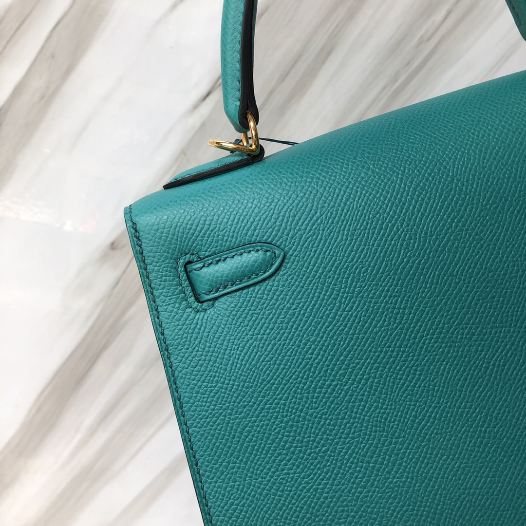 Stock Hermes U1 Vert Verone Epsom Calf Kelly Bag25CM Gold Hardware