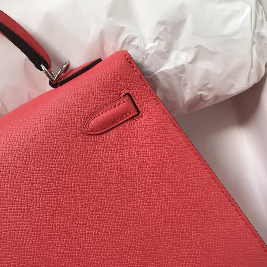 Stock Hermes Epsom Calf Kelly25CM Bag in T5 Rose Peach Silver Hardware