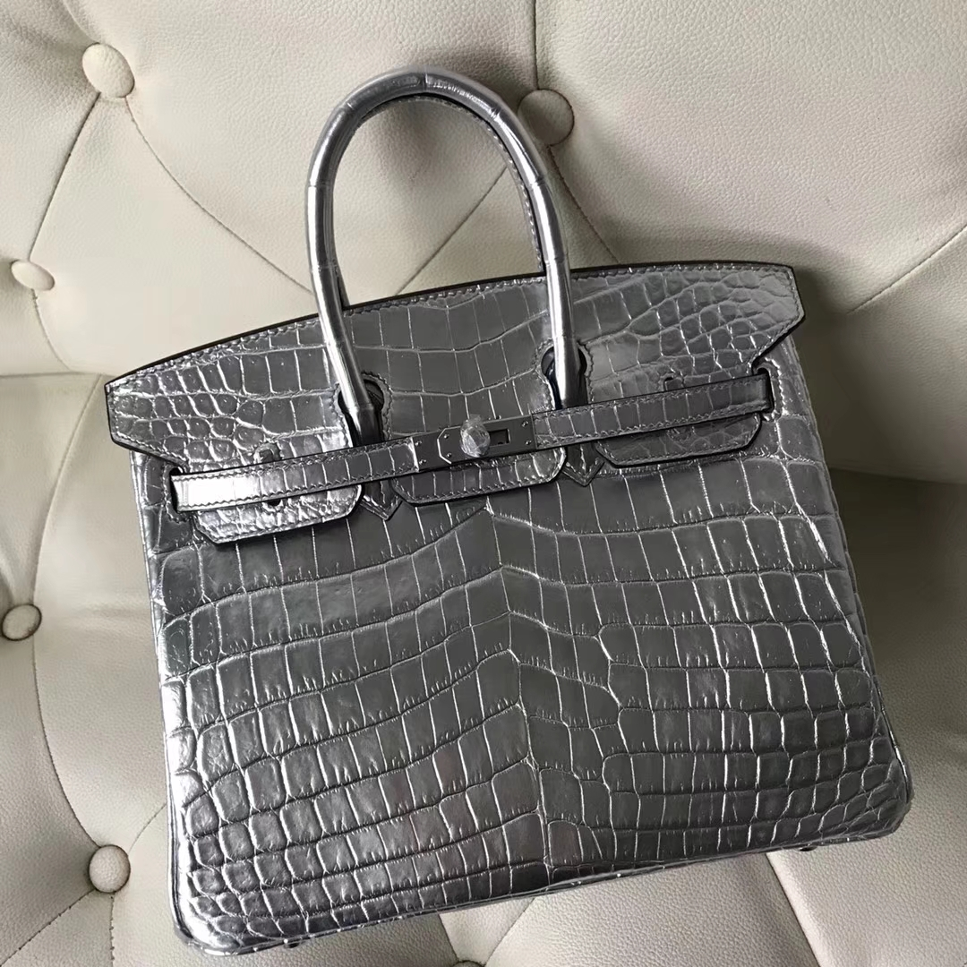 Luxury Hermes Silver Shiny Crocodile Birkin30CM Bag Silver Hardware