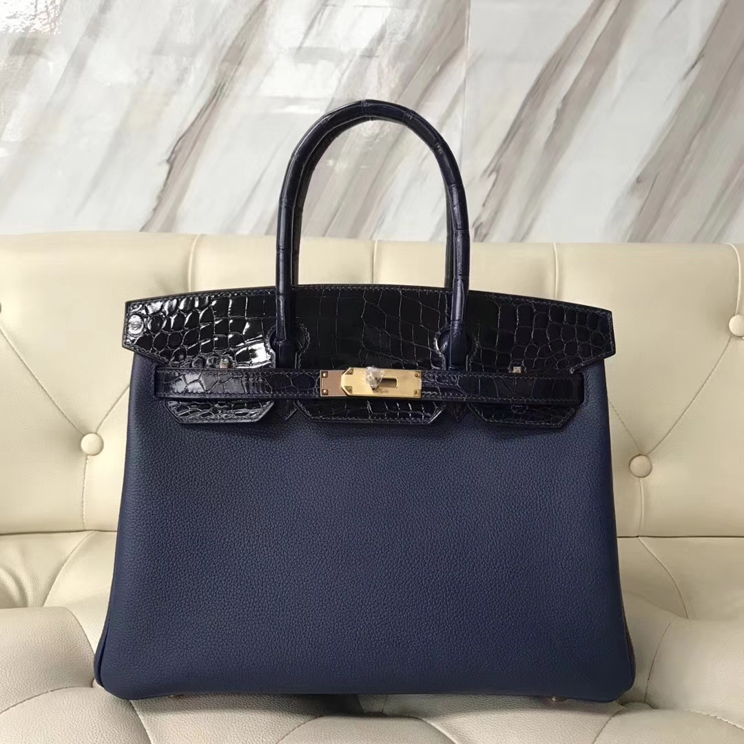 Fashion Hermes CK73 Blue Saphir Togo/ CK78 Blue Indgo Shiny Crocodile Birkin30CM Bag