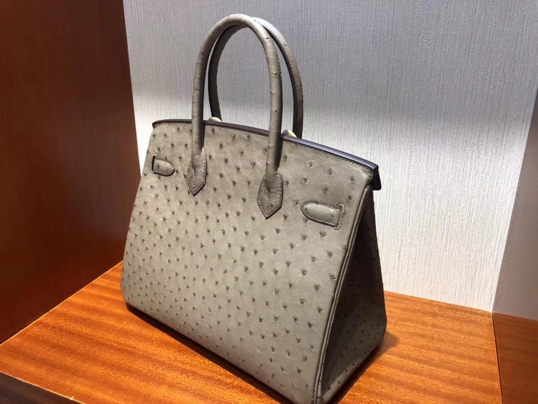 Fashion Hermes KK OstrichLeather Birkin30CM Tote Bag in CK18 Etoupe Grey Gold Hardware