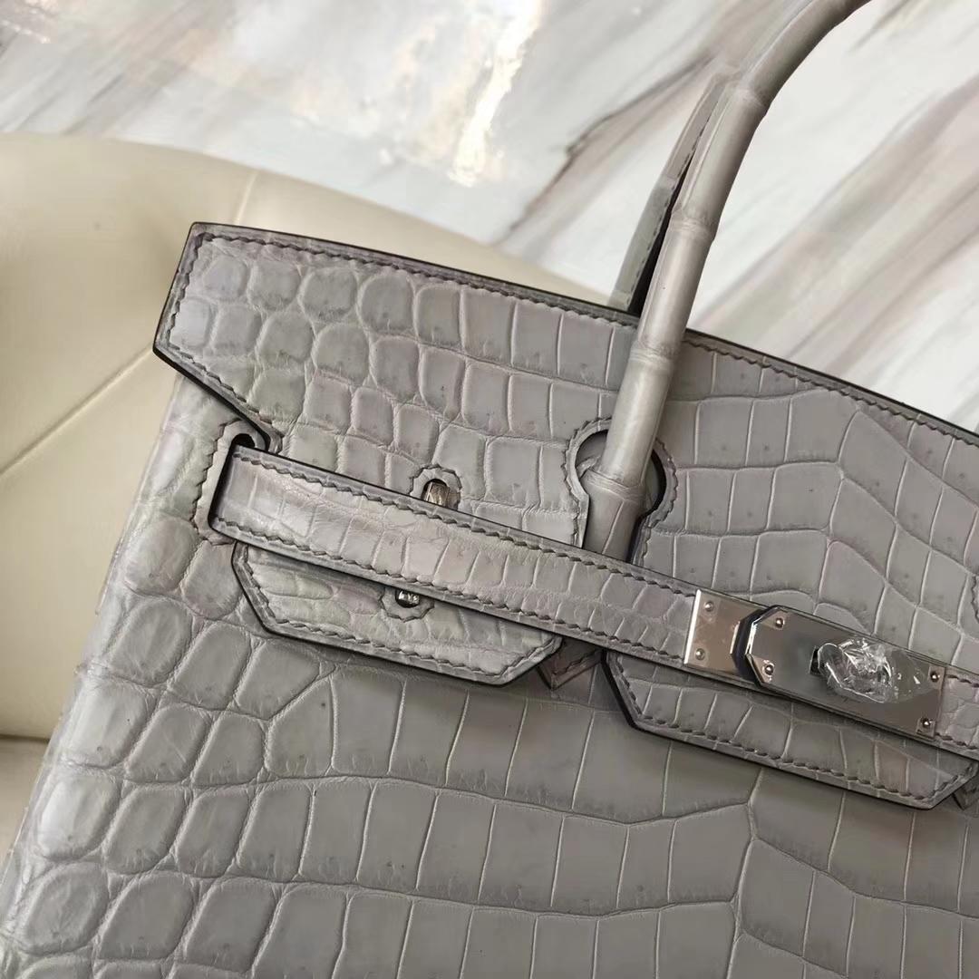 Fashion Hermes 8M Gris Paris Matt CrocodileLeather Birkin Bag30CM Silver Hardware