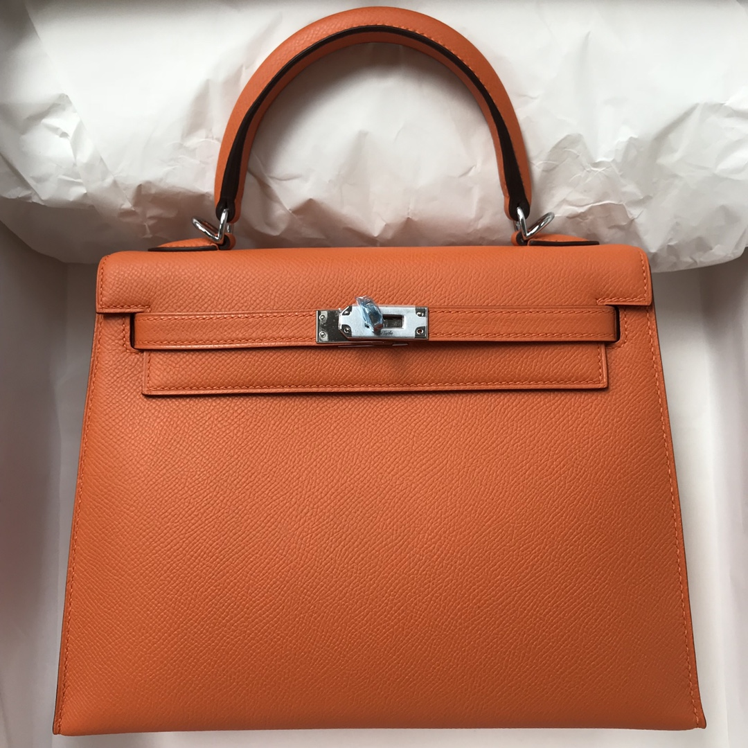 Stock Hermes Orange Epsom Calf Sellier Kelly Bag25CM Silver Hardware