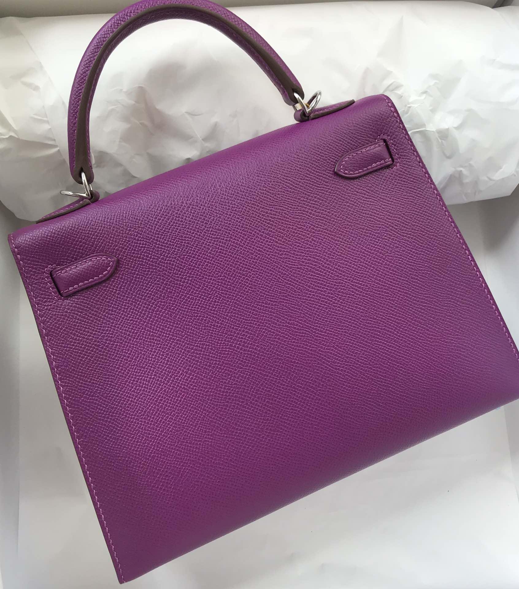 Stock Hermes P9 Anemone Purple Epsom Calf Kelly25CM Bag Silver Hardware