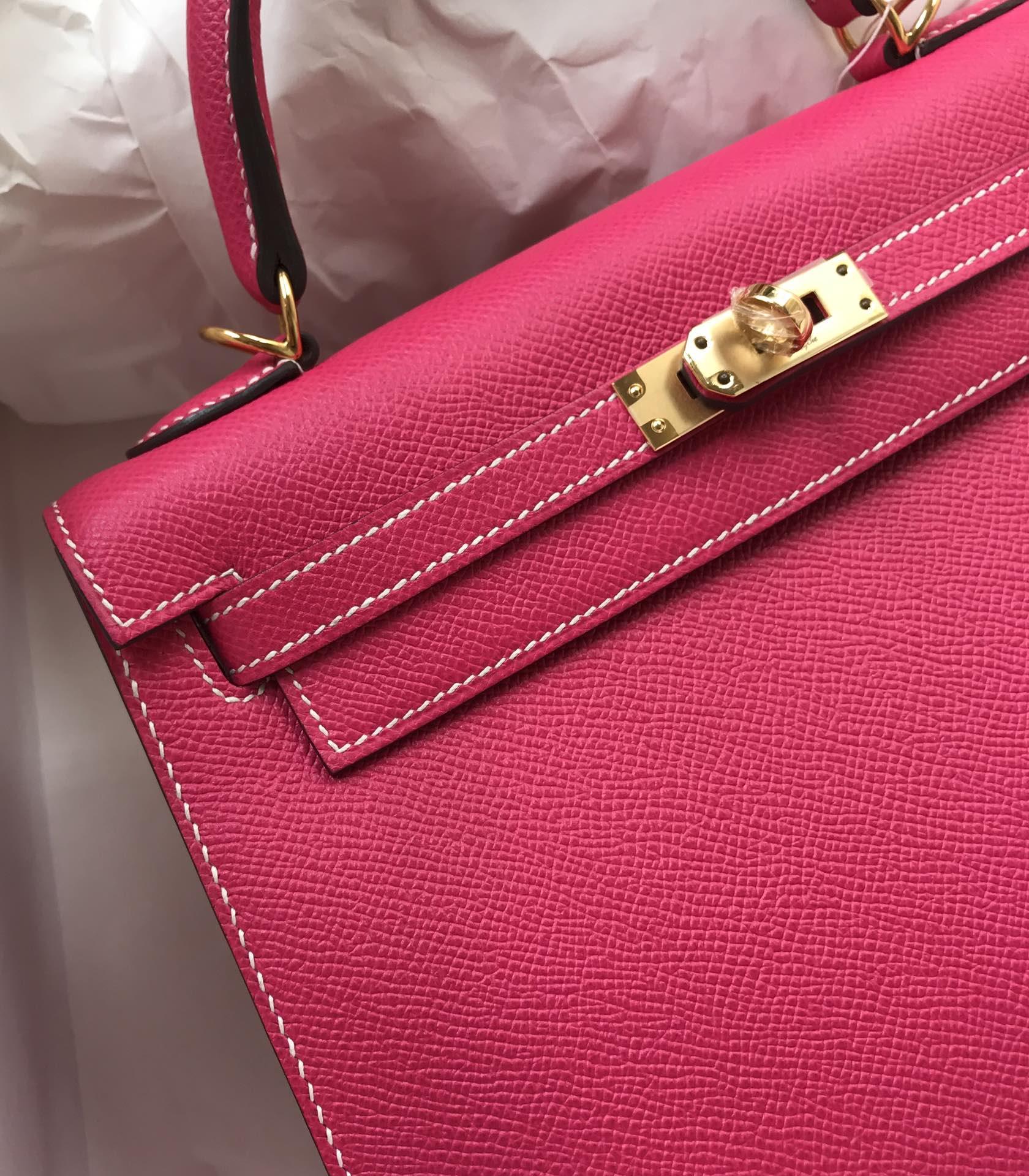 Stock Hermes Epsom Calf Kelly Bag25CM in E5 Rose Tyrien Gold Hardware