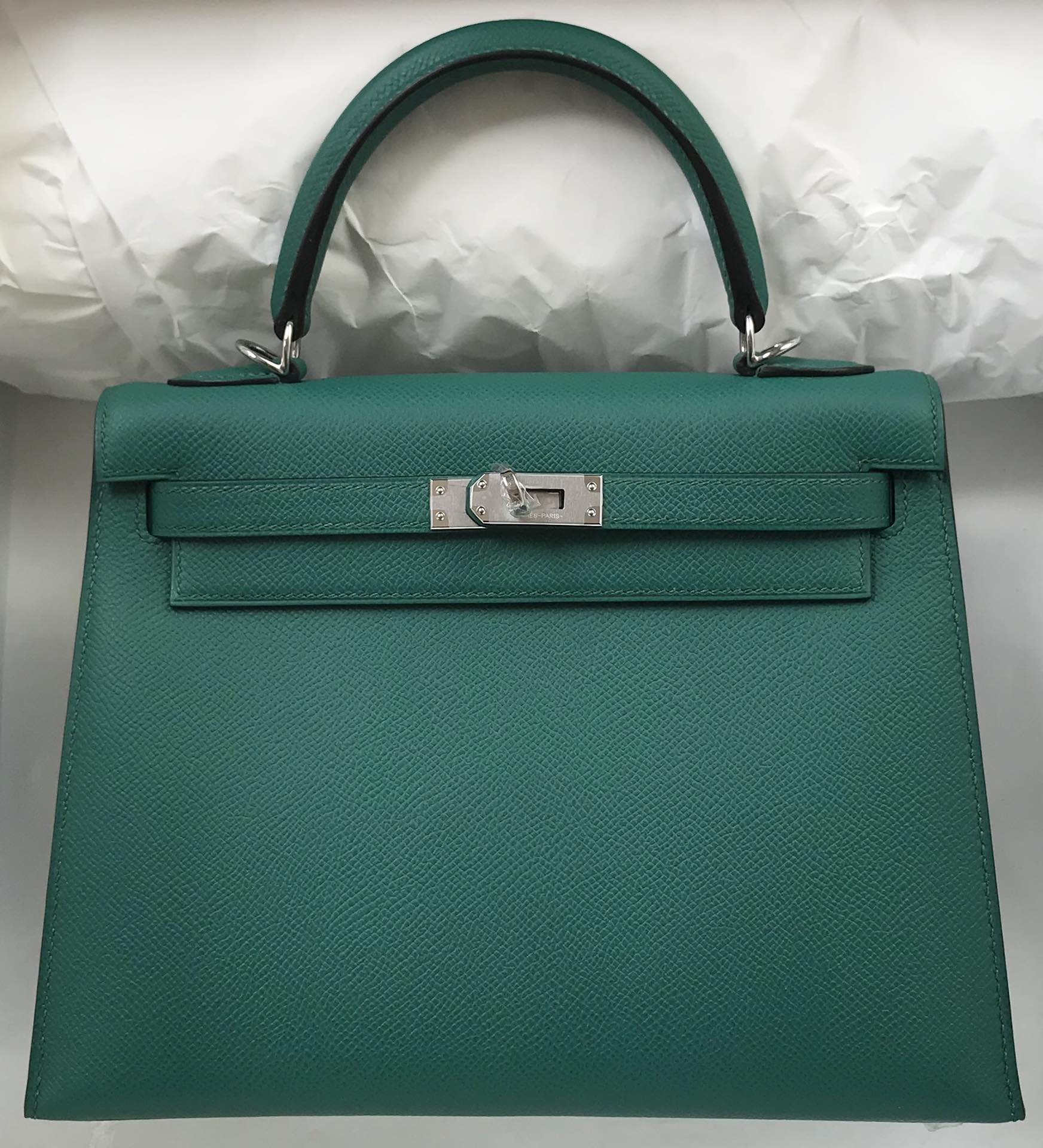 Stock Hermes Z6 Vert Malachite Epsom Calf Sellier Kelly25CM Bag Silver Hardware