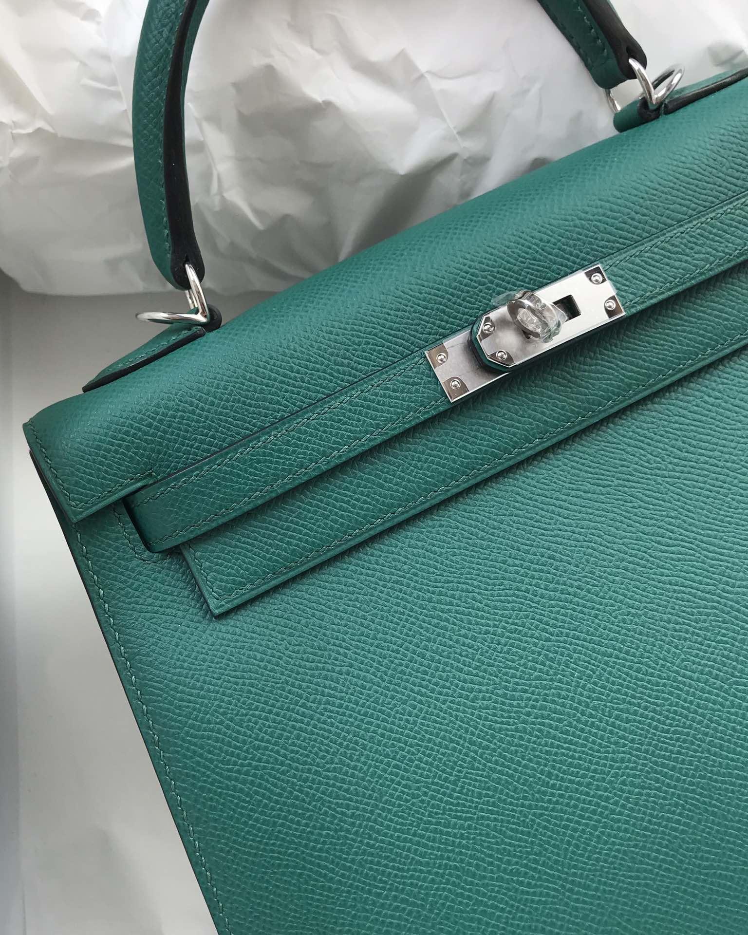 Stock Hermes Z6 Vert Malachite Epsom Calf Sellier Kelly25CM Bag Silver Hardware
