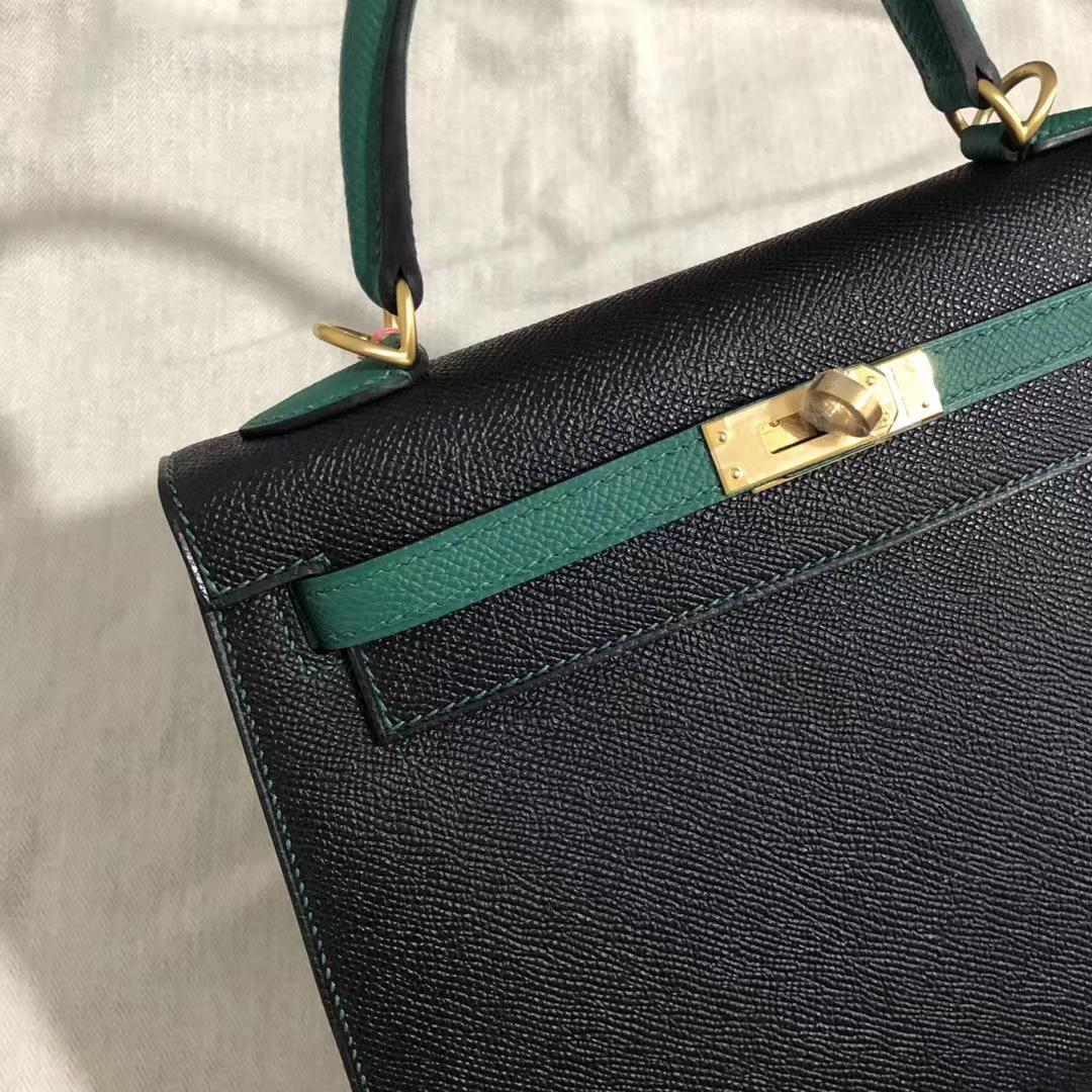 New Hermes Z6 Vert Malachite/CK89 Noir Epsom Kelly Bag25CM Gold Hardware