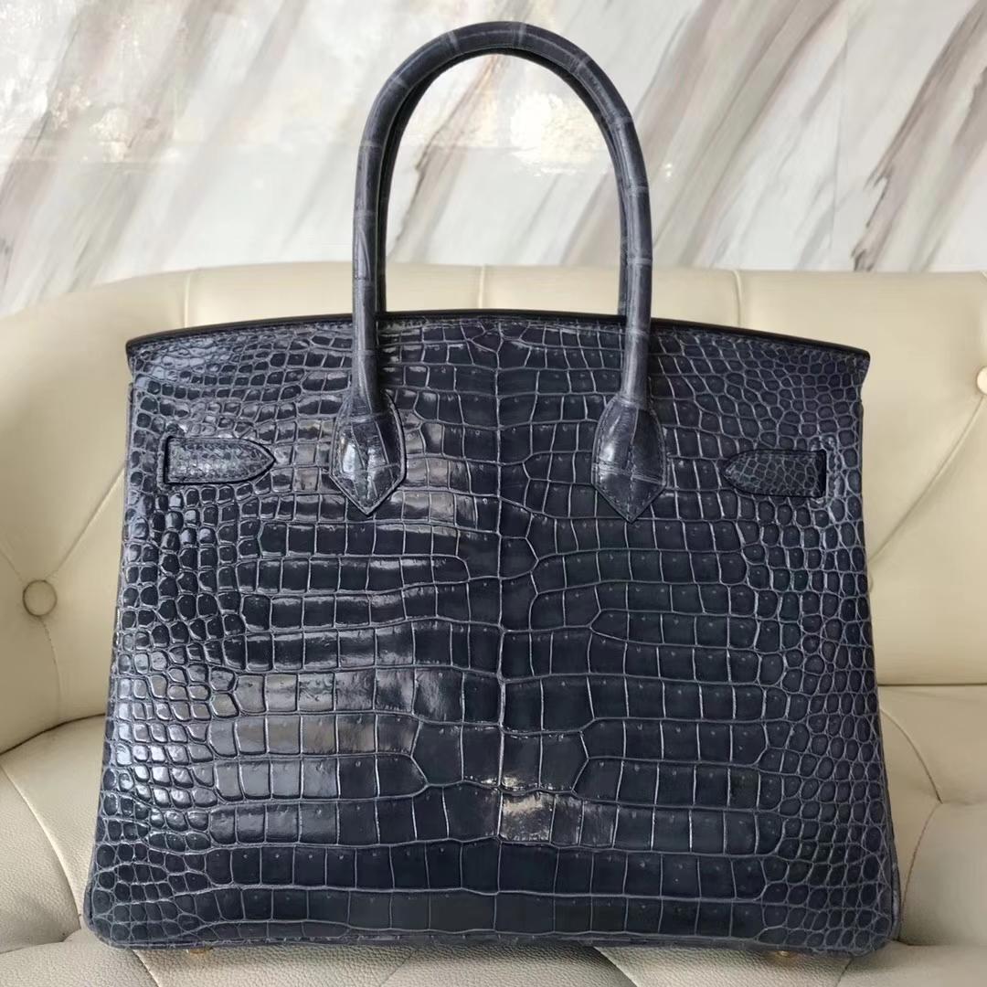 Noble Hermes N7 Blue Tempete Shiny Porosus Crocodile Birkin30CM Bag Gold Hardware