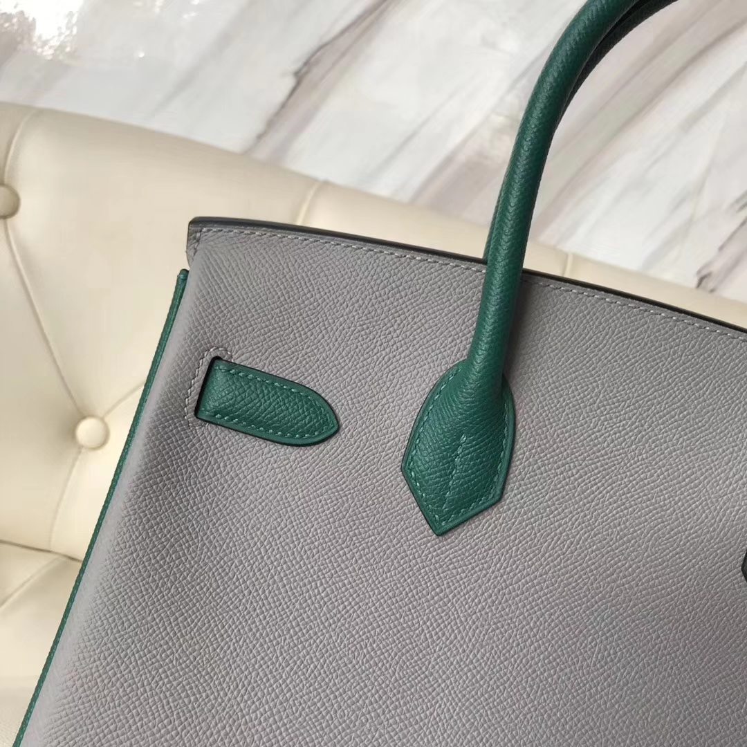 Fashion Hermes 4Z Gris Mouette/Z6 Malachite Green Epsom Calf Birkin30CM Silver Hardware