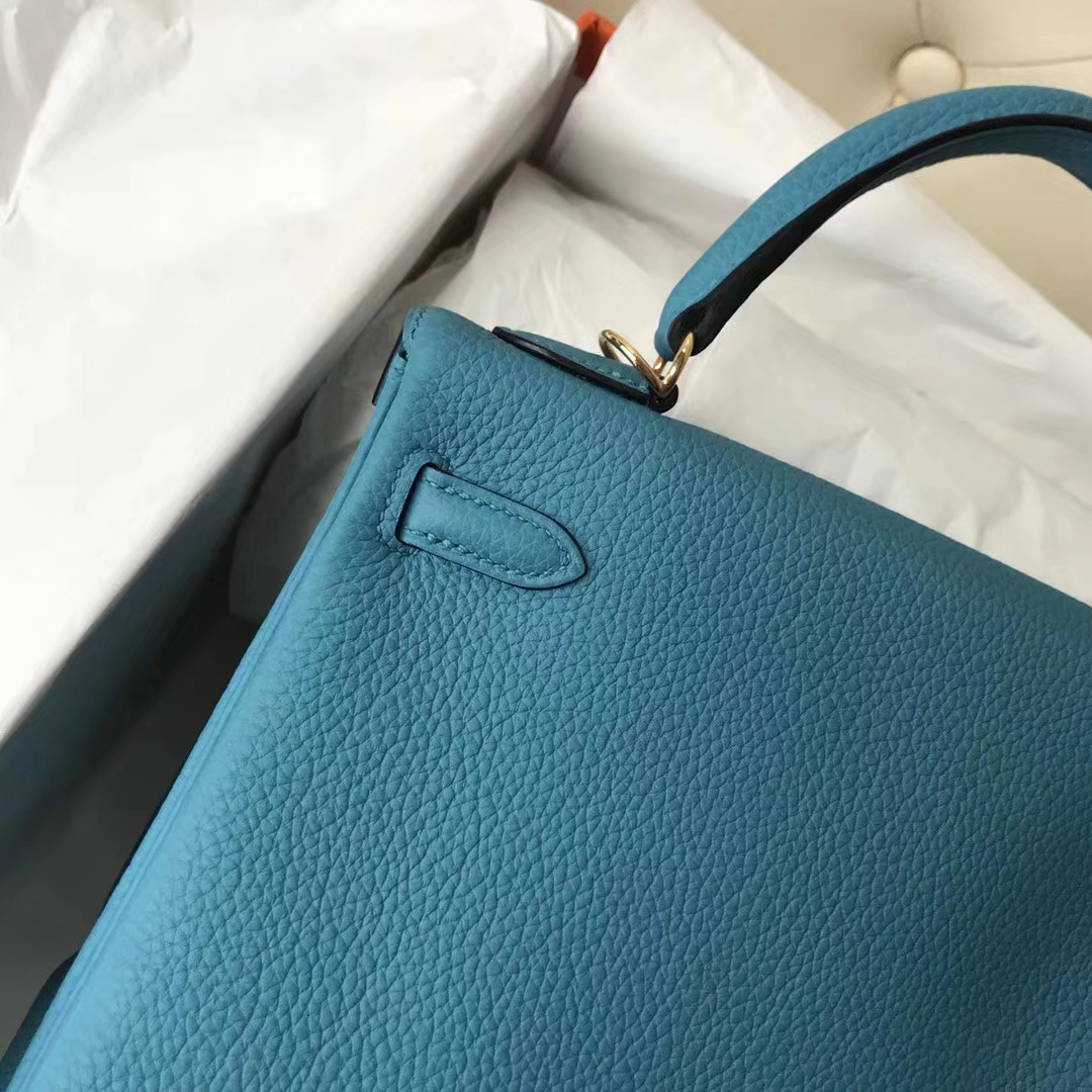 Stock Hermes 7B Blue Turquoise Togo Calf Kelly Bag25CM Gold Hardware