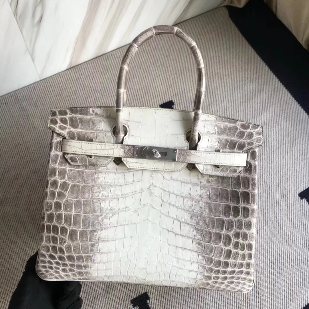Elegant Hermes Himalaya Crocodile Leather Birkin Bag30CM Silver Hardware