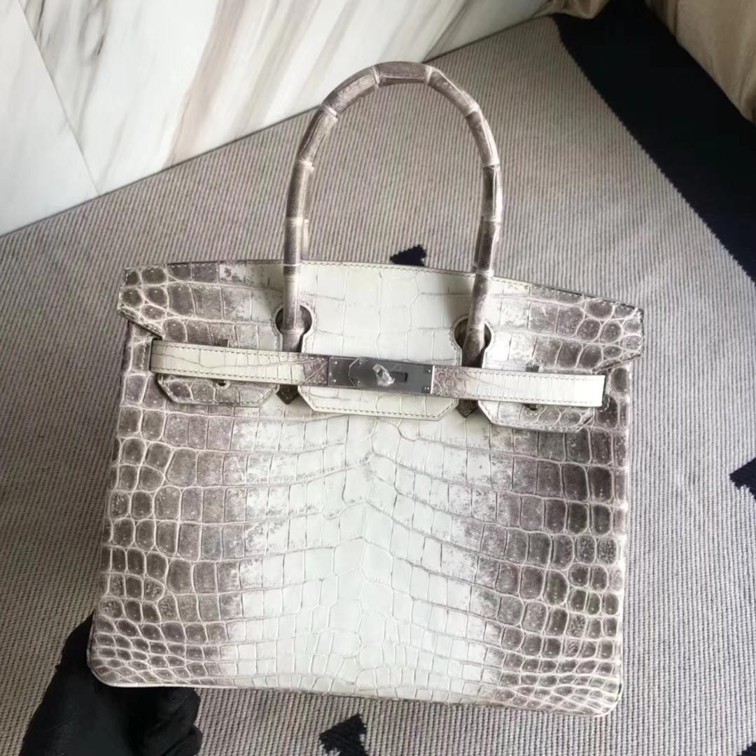 Elegant Hermes Himalaya CrocodileLeather Birkin Bag30CM Silver Hardware