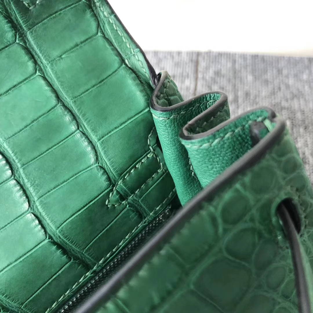 Stock Hermes 1L Vert Cacti Matt Crocodile Kelly Bag25CM Silver Hardware