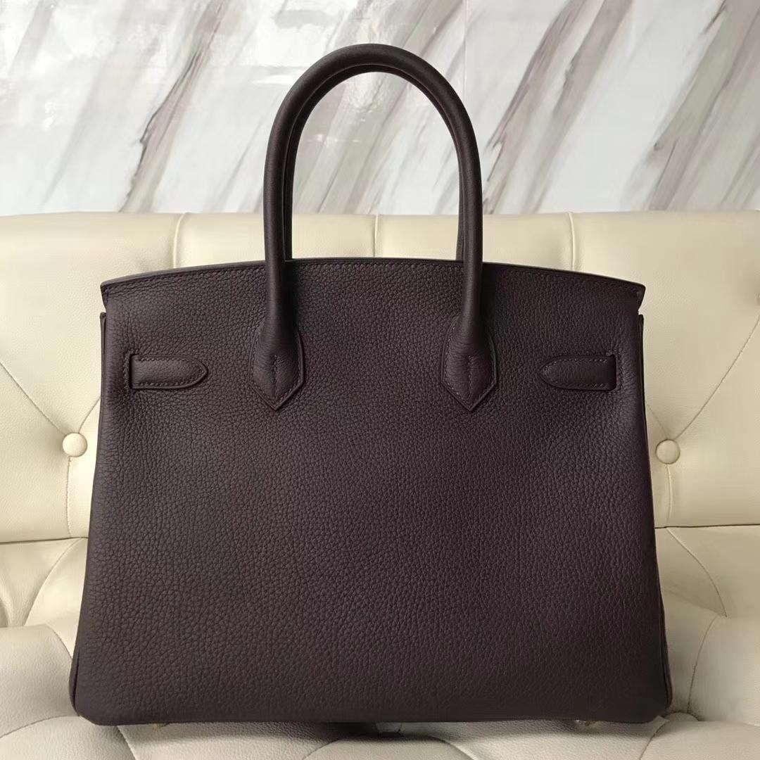 Fashion Hermes CK57 Bordeaux Red Togo Calf Birkin Bag30CM Gold Hardware