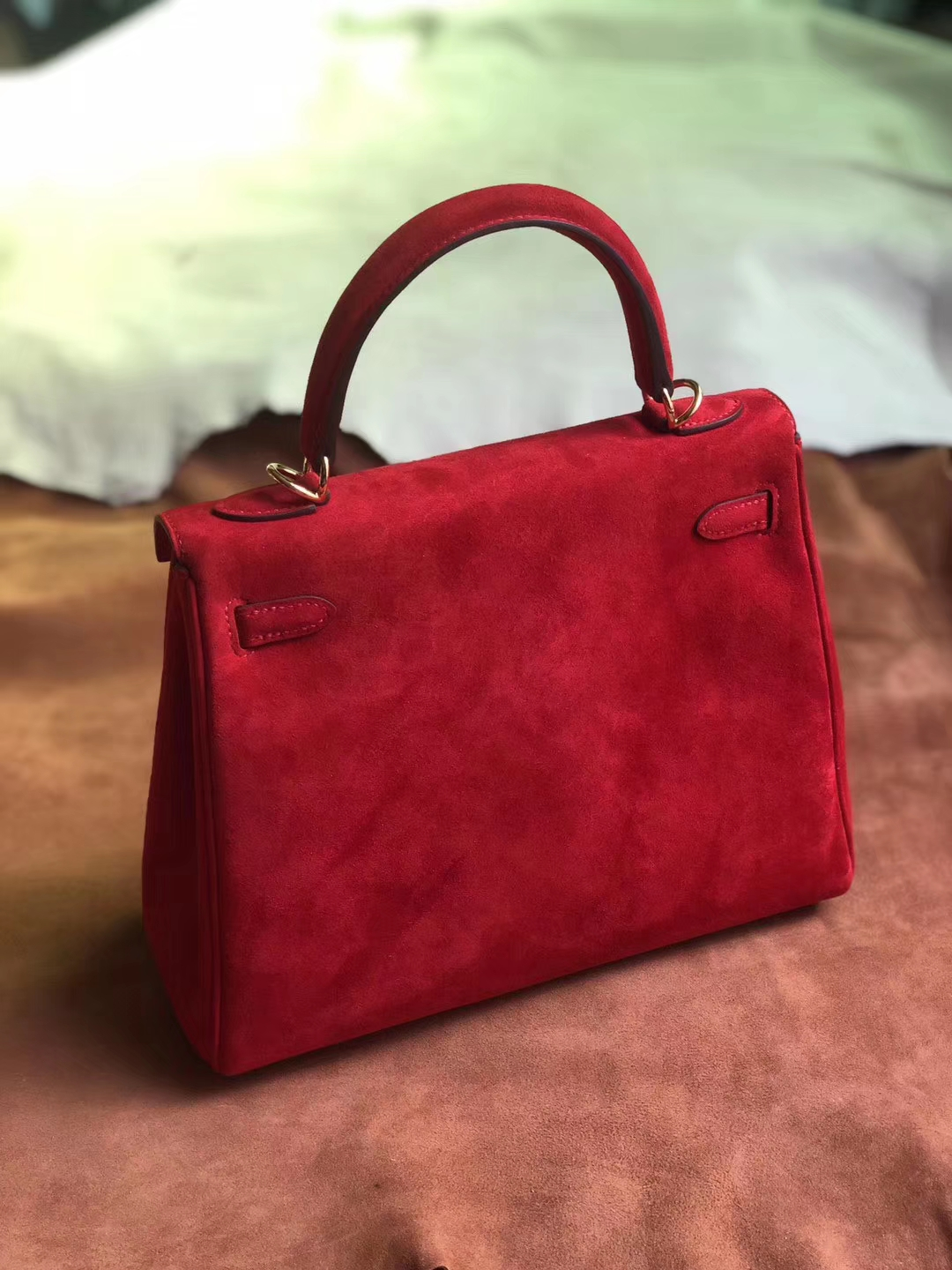 Discount Hermes Q5 Rouge Casaque Suede Leather Kelly Bag25CM Gold Hardware