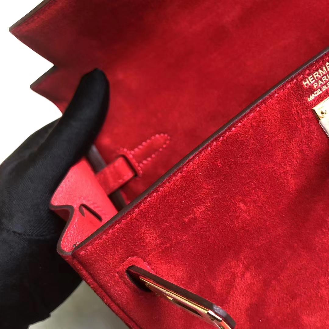 Discount Hermes Q5 Rouge Casaque Suede Leather Kelly Bag25CM Gold Hardware
