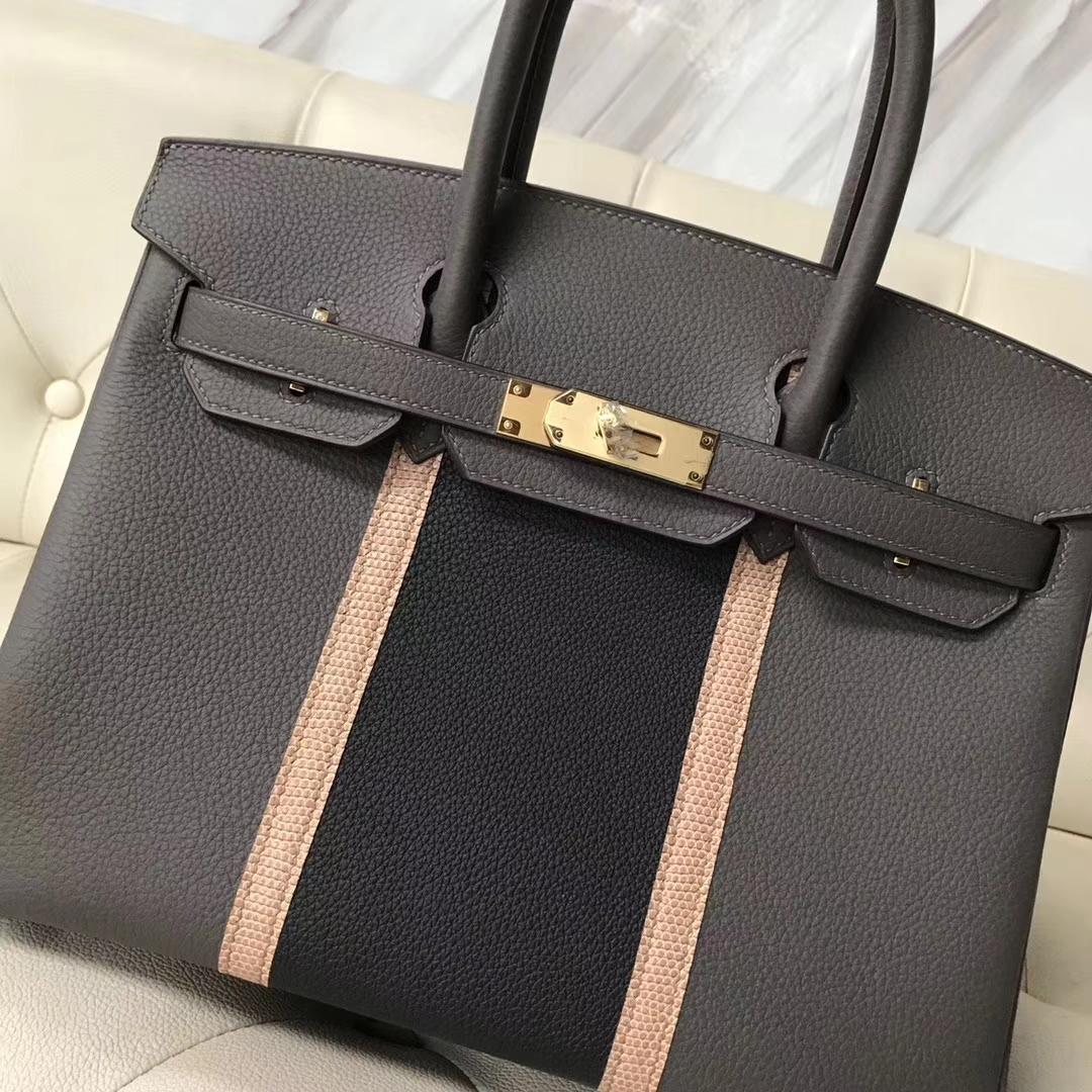 Fashion Hermes 8F Etain Grey/Graphite Togo & Apricot Lizard Birkin30CM Bag Gold Hardware