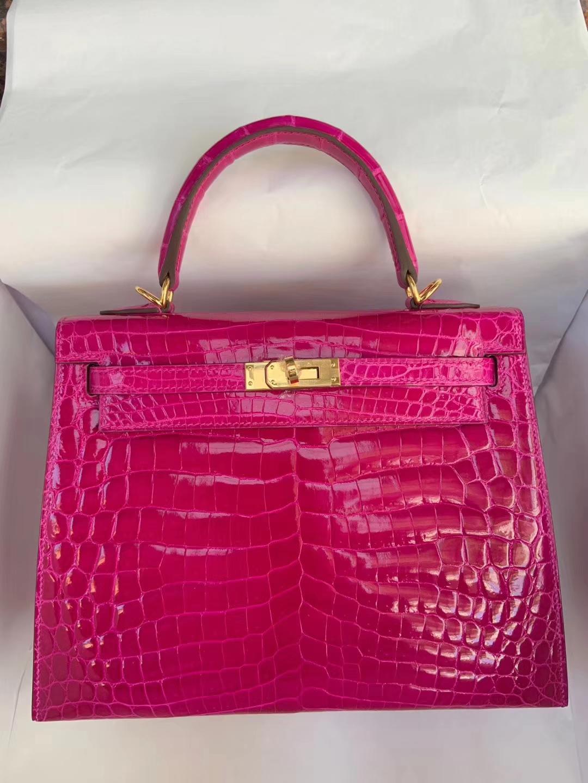 Luxury Hermes J5Rose Scheherazade Crocodile Shiny Kelly25CM Bag Gold Hardware