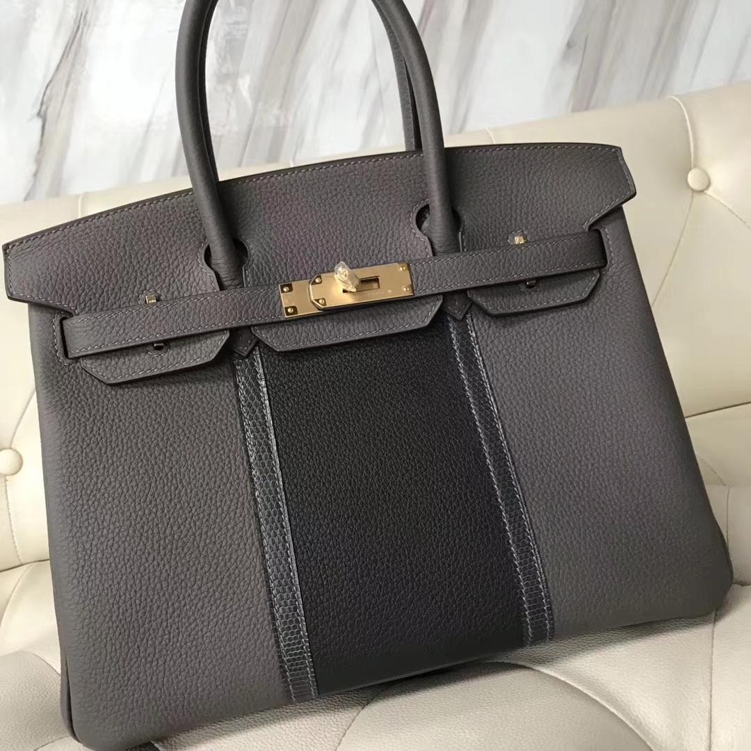 Sale Hermes Birkin Bag30CM Etain Grey/Graphite Grey Togo & Iron Grey Lizard Leather