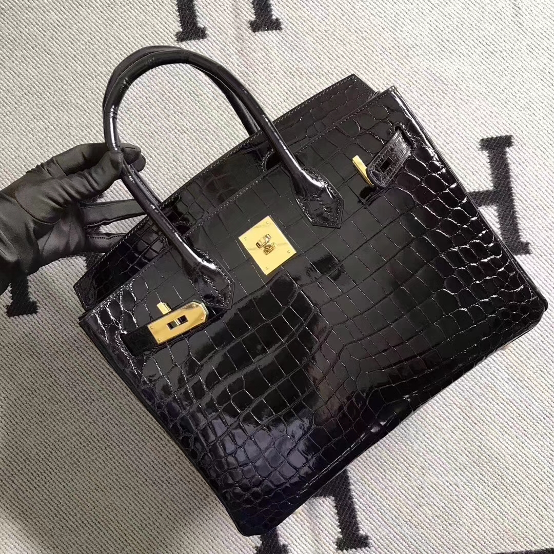 Hermes Classic Bag Black Shiny Crocodile Leather Birkin Bag30CM Gold Hardware
