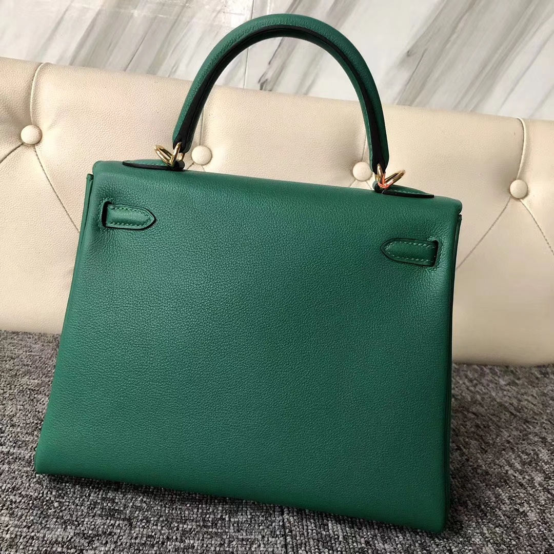 Customize Hermes U4 Vert VerigoEverycolor Kelly25cm Bag Gold Hardware