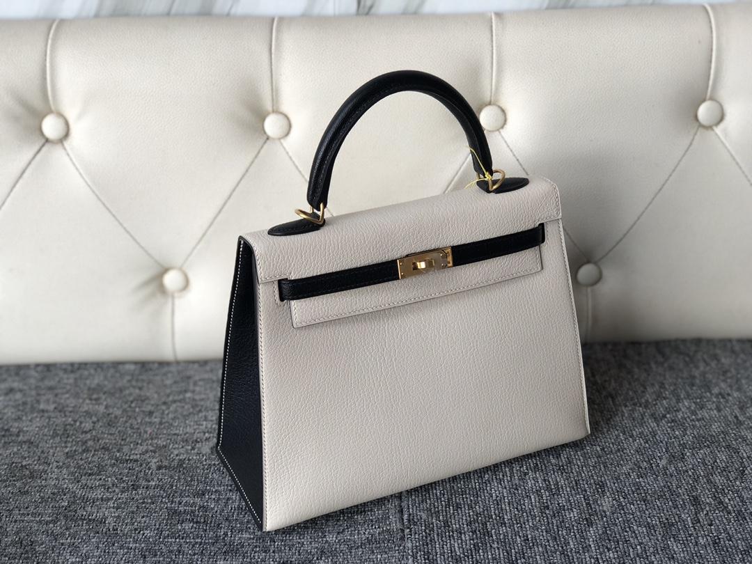 Stock Hermes Craie White/Noir Chevre Leather Kelly Bag25cm Gold Hardware