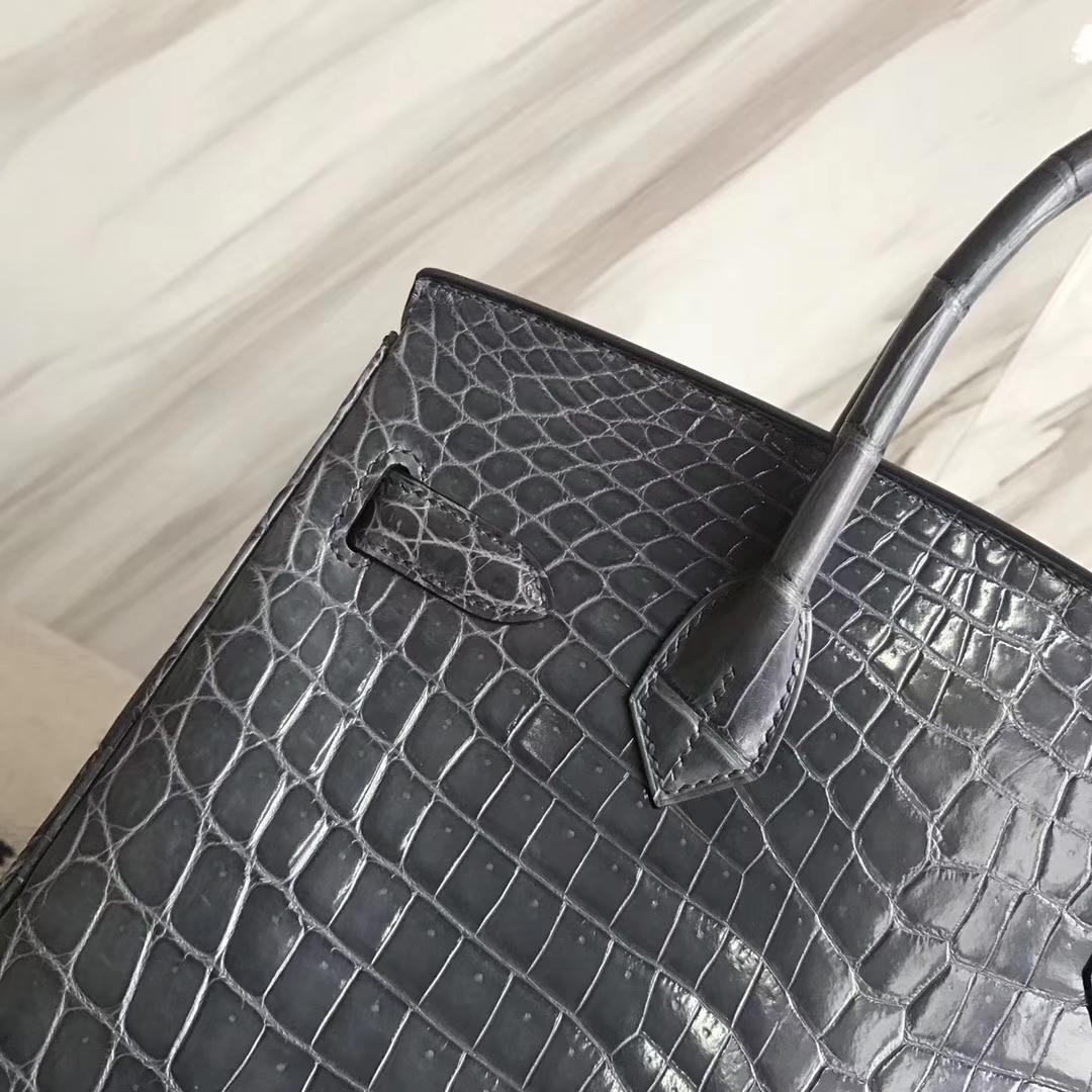 Luxury Hermes Shiny Nilo Crocodile Birkin30CM Bag in N7 Blue Tempete Silver Hardware