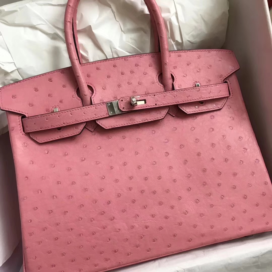 Hand Stitching Hermes 1Q Rose Confetti Ostrich Leather Birkin30CM Bag Silver Hardware