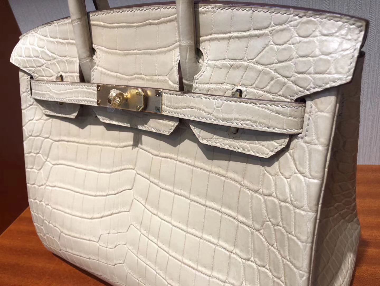 Sale Hermes 1C Poussiere Crocodile MattLeather Birkin30CM Bag Gold Hardware