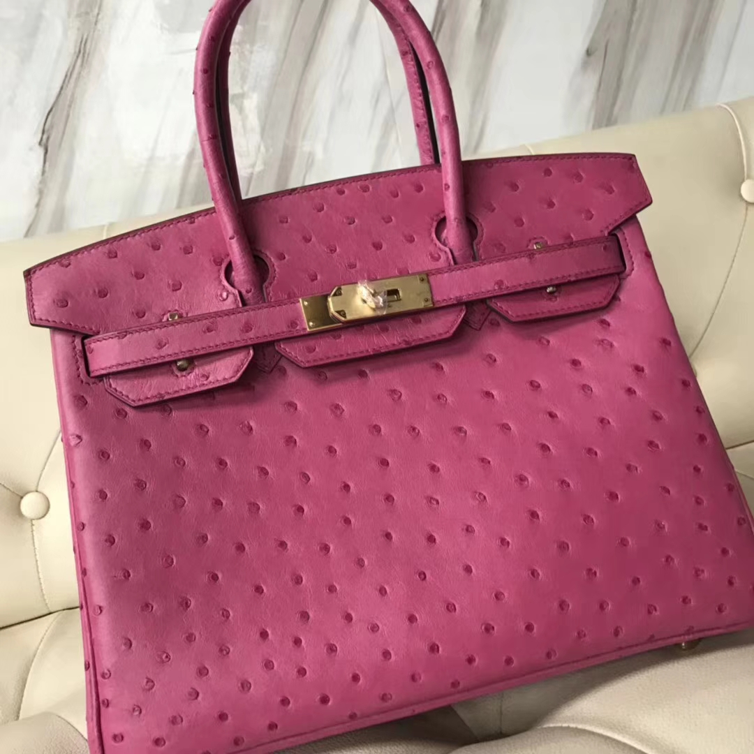 Pretty Hermes E5 Rose Tyrien OstrichLeather Birkin30CM Bag Gold Hardware