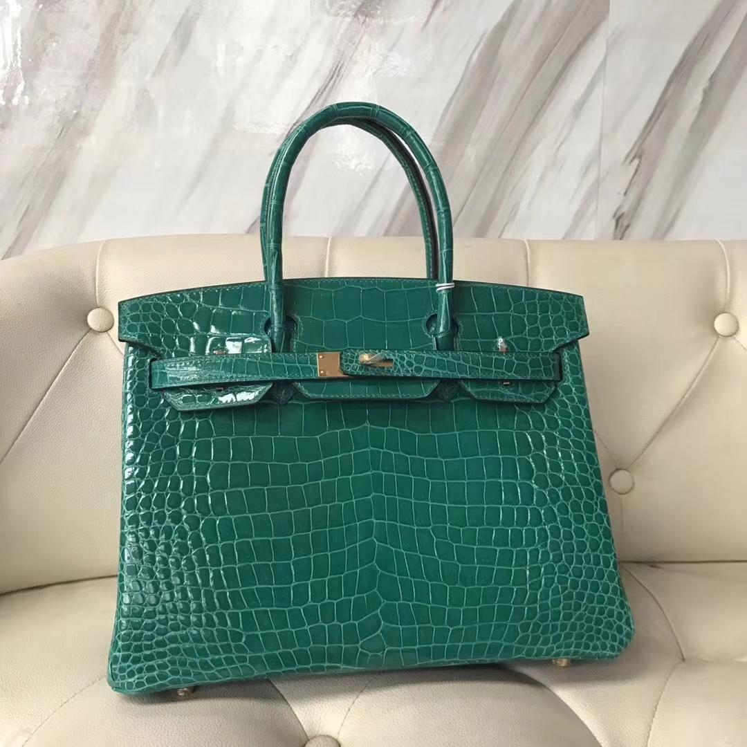 Luxury Hermes 6Q Emerald Green Shiny CrocodileLeather Birkin30CM Bag Gold Hardware