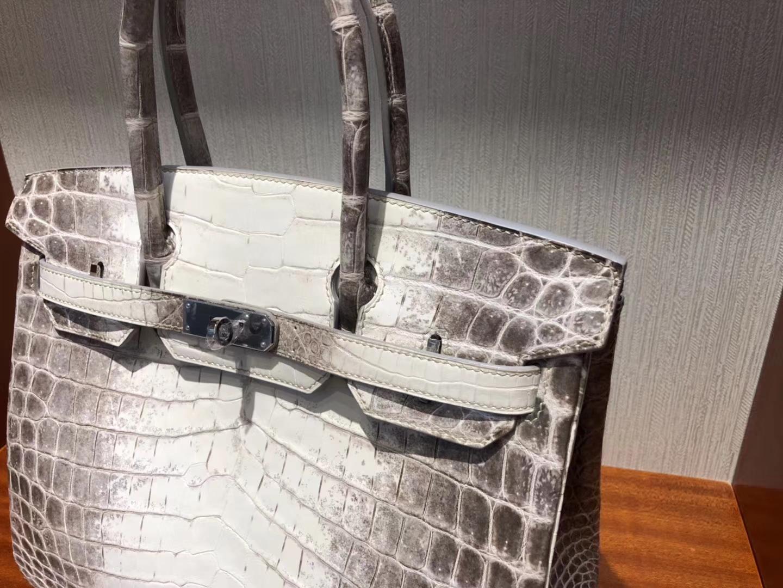 Elegant Hermes Himalaya CrocodileLeather Birkin30CM Bag Silver Hardware