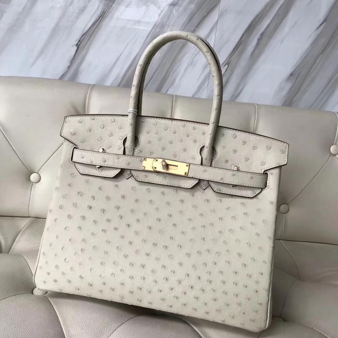 Sale Hermes 3C Wool White OstrichLeather Birkin Bag30CM Gold Hardware