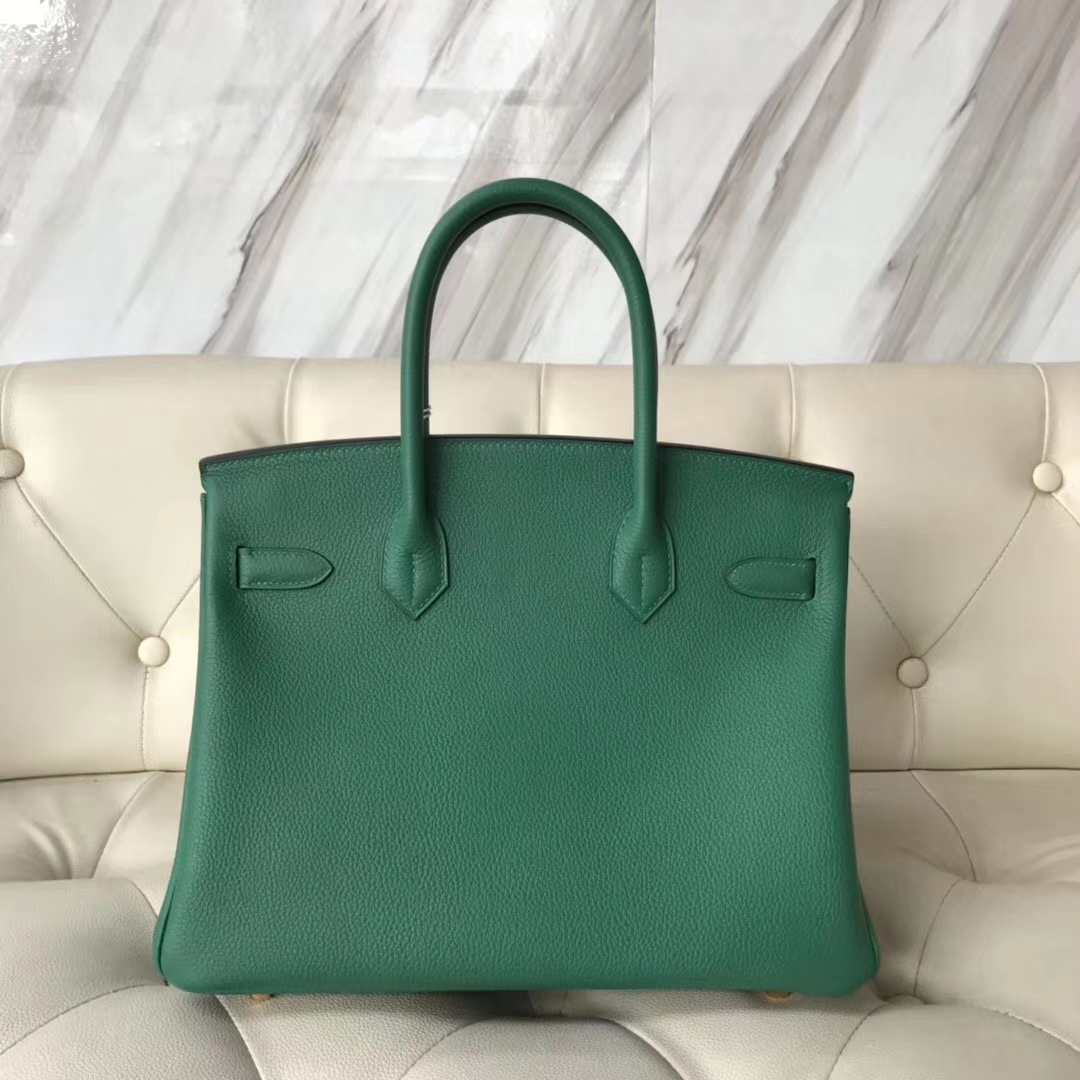 Sale Hermes Togo Calf Leather Birkin Bag30CM in U4 Vert Verigo Gold Hardware